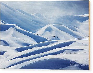 Winter Mountain Ski Resort Wood Print by Anna Om