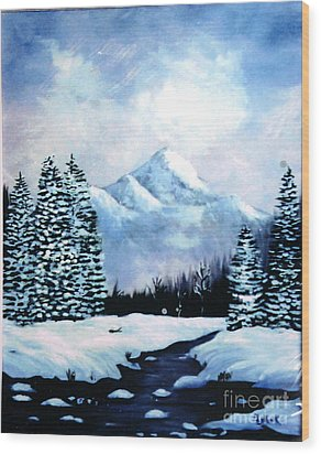 Winter Mountains Wood Print by Phyllis Kaltenbach