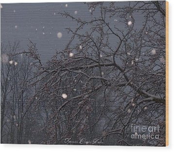 Winter Night Wood Print by Sacred  Muse