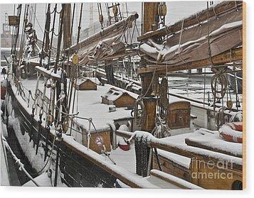 Winter On Deck Wood Print by Heiko Koehrer-Wagner