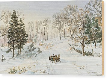 Winter On Ravensdale Road Wood Print by Jasper Francis Cropsey