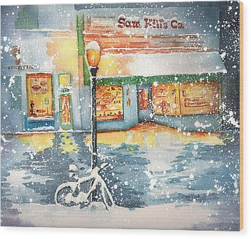 Winter On Whiskey Row Prescott Arizona Wood Print by Sharon Mick