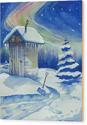 Winter Outhouse Wood Print by Peggy Wilson