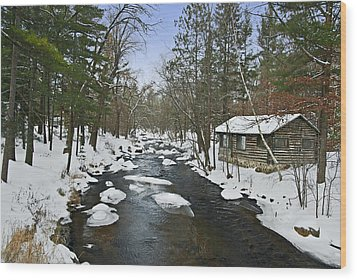 Wood Print featuring the photograph Winter Saxeville Log Cabin by Judy  Johnson