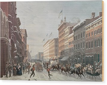 Winter Scene On Broadway Wood Print by American School