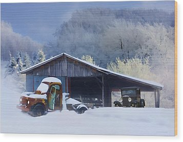 Winter Shed Wood Print by Ron Jones