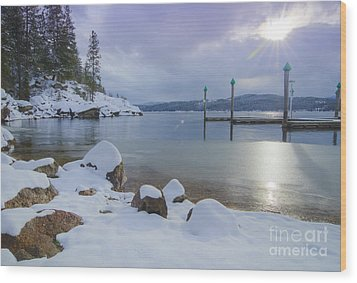 Winter Shore Wood Print by Idaho Scenic Images Linda Lantzy