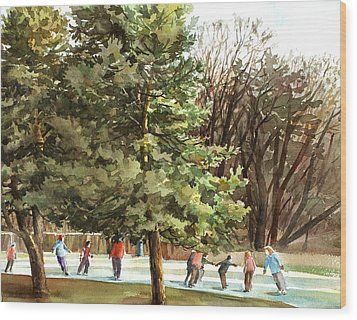 Winter Skating Wood Print by Peter Sit