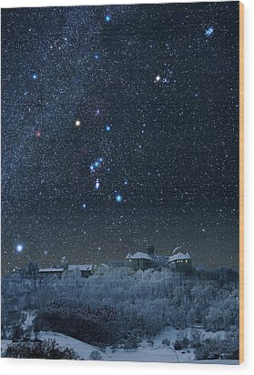 Winter Sky With Orion Constellation Wood Print by Eckhard Slawik