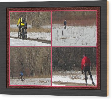Winter Sports 2 On Bear Creek Trail Wood Print by Gretchen Wrede