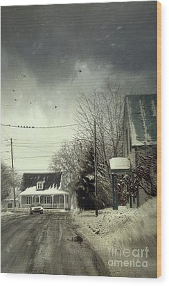 Winter Street Scene With A Car In A Small Town  Wood Print by Sandra Cunningham