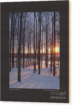 Wood Print featuring the photograph Winter Sunrise-ii by Patricia Overmoyer