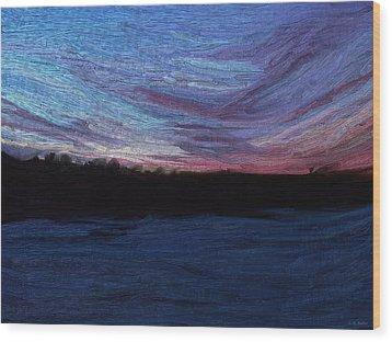 Wood Print featuring the digital art Winter Sunset by Lauren Radke