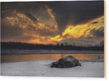 Wood Print featuring the photograph Winter Sunset by Yelena Rozov