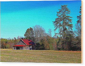 Wood Print featuring the photograph Winter Tobacco Field by Bob Whitt