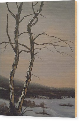 Wood Print featuring the painting Winter Trees by James Guentner