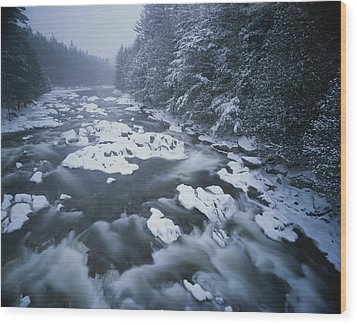 Winter View Of The Ausable River Wood Print by Michael Melford