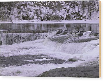 Wood Print featuring the photograph Winter Waterfalls by Josef Pittner