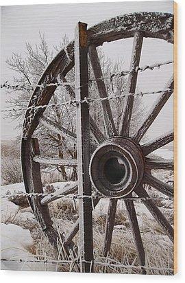 Winter Wheel Wood Print by Wesley Hahn