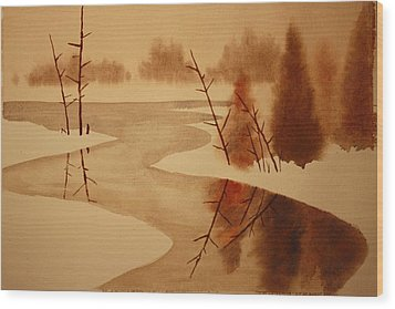 Winterbend Wood Print by Jeff Lucas