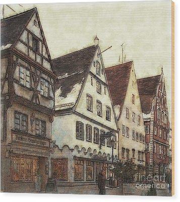 Winterly Old Town Wood Print by Jutta Maria Pusl