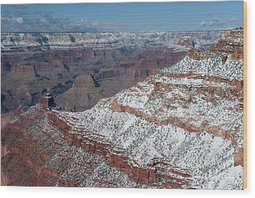 Winter's Touch At The Grand Canyon Wood Print by Sandra Bronstein