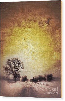 Wintery Road Sunrise Wood Print by Jill Battaglia