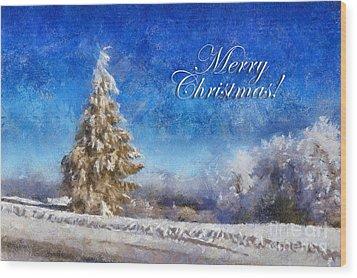 Wintry Christmas Tree Greeting Card Wood Print by Lois Bryan