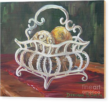 Wire Basket Wood Print by Deborah Smith