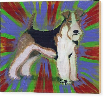 Wire Fox Terrier Wood Print by Char Swift