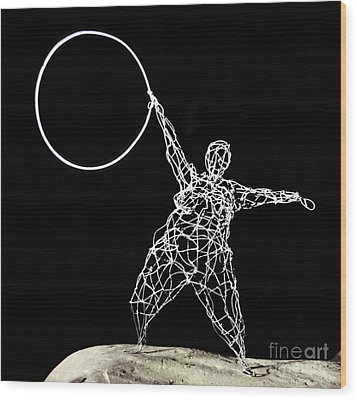 Wire Lady Holding Hoop Wood Print by Tommy  Urbans