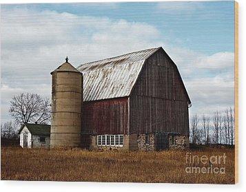Wisconsin Dairy Barn Wood Print by Ms Judi