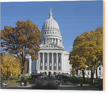Wisconsin State Capitol Building Wood Print by Keith Stokes