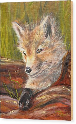 Wise As A Fox Wood Print by Laura Bird Miller