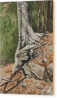 Wishing Tree Wood Print by Carla Dabney