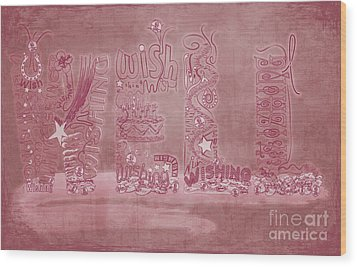 Wood Print featuring the digital art Wishing Well Breast Cancer Tribute by Laura Brightwood