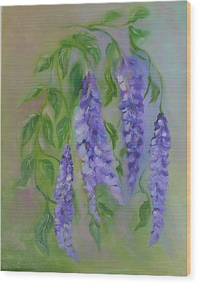 Wood Print featuring the painting Wisteria by Carol Berning