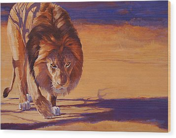 Within Striking Distance - African Lion Wood Print by Shawn Shea