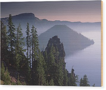 Wizard Island In The Center Of Crater Wood Print by Tim Fitzharris