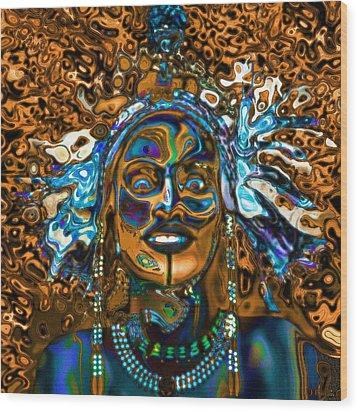 Wodaabe Blue Wood Print by Jann Paxton