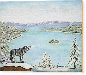 Wolf At Lake Tahoe Wood Print by Jerome Stumphauzer