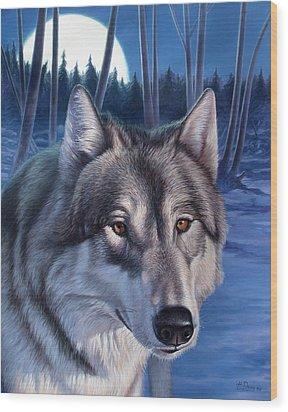 Wolf In Moonlight Wood Print