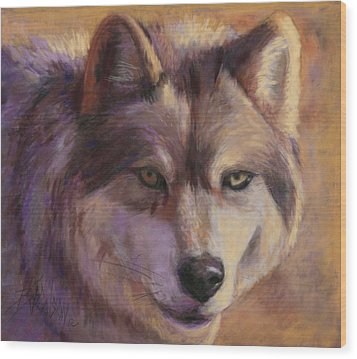 Wolf Study Wood Print by Billie Colson