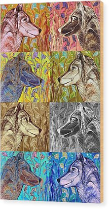 Wolf Views Wood Print by Mary Schiros