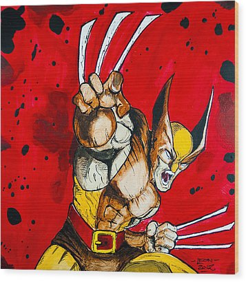 Wolverine Wood Print by Chris  Leon