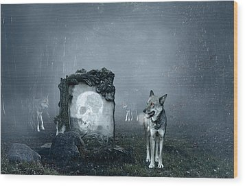 Wolves Guarding An Old Grave Wood Print by Jaroslaw Grudzinski