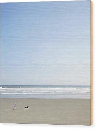 Woman And Dog On Beach Wood Print by Richard Newstead