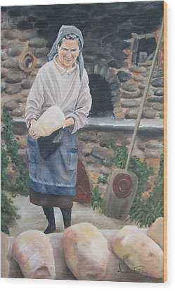 Woman Baking Bread  Wood Print by Anna Poelstra Traga