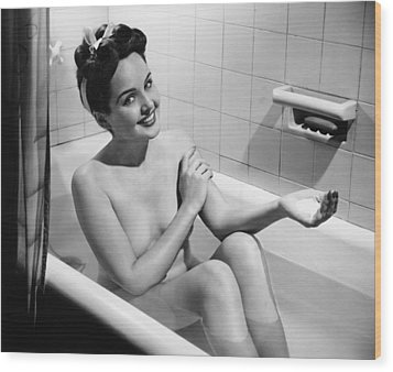Woman Bathing, (b&w), Portrait Wood Print by George Marks