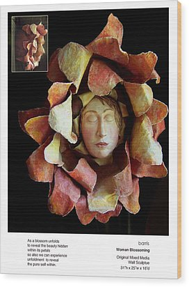 Woman Blossoming Wood Print by Beverly Barris
